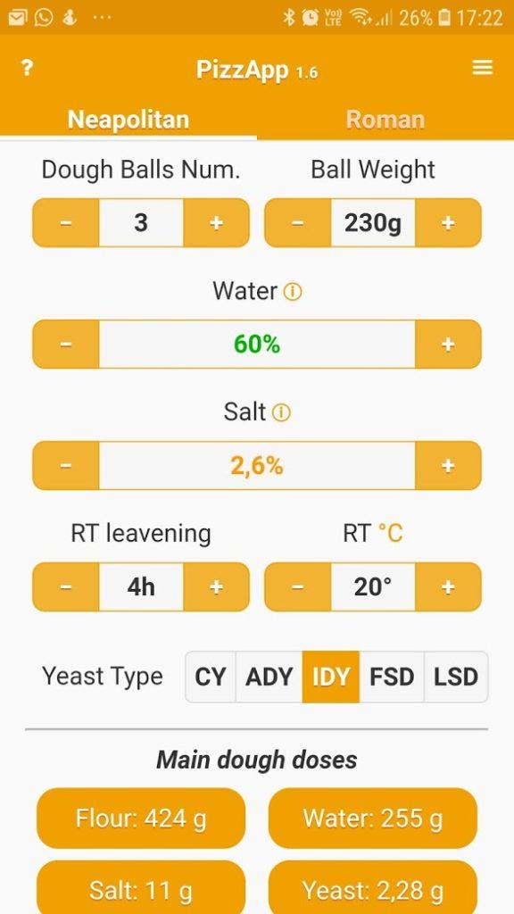 PizzApp+ app for å beregne ingrediensene i pizzadeigen